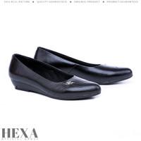 Sepatu Wanita Pantofel Kulit Asli Formal Kantor Kerja Hak 3cm Hitam