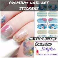 Kikykoo premium nail art sticker miss glitter rainbow
