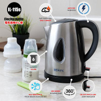 IDEALIFE - Stainless Electric Kettle/Teko Listrik (1.0Litre) IL-115s