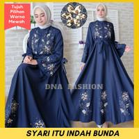Busana Muslim Wanita Baju Gamis Syari Pesta Maxi Abaya Bordir Busui - Navy