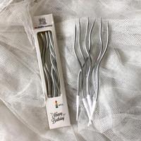 SWIRL METALLIC CANDLE 6pcs lilin birthday ultah ulang tahun - Silver