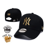 Topi Strapback Baseball Cap NY New York Yankees Black Gold IMPORT