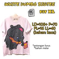 White Dumbo Bigtee KAOS WANITA MELAR ADEM TERMURAH JUMBO FIT XL