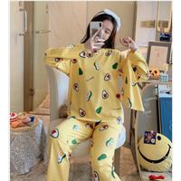piyama import korea murah baju tidur + free pouch (AVOCADO) - Kuning, XL