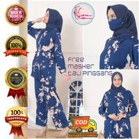 Pajamas Piyama Set Fashion Muslim Wanita Rayon Premium Giselle Navy