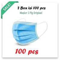 Masker 3 Ply earloop face mask filter 3 lapisan 2 Box Isi 100 pcs