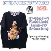 Pooh & Friends Loosetee KAOS WANITA HITAM MELAR ADEM JUMBO XXXL 3L 3XL