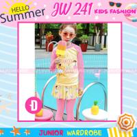 Baju Renang Panjang 2 pieces Anak Perempuan JW 241 Dancer Pink Kuning