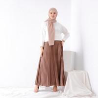 Rok plisket panjang jumbo /Rok rempel ok Kerja muslim wanita/Rok murah - Putih