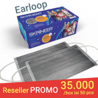 Masker Skrineer Earloop Grey 1ply isi 50 pcs Original