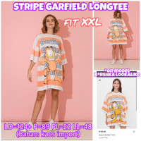 Stripe Garfield Longtee KAOS PANJANG BAHAN MELAR IMPORT JUMBO XXL 2XL