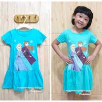 Dress Anak Frozen Elsa Biru / Baju Rok Anak Disney Princess / Katun