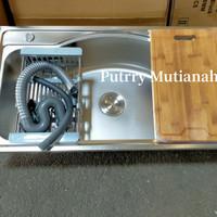 bak cuci piring stainless set kitchen sink wastafel portable Termurah
