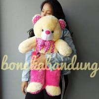 boneka beruang xl 65cm boneka bandung - pink krem
