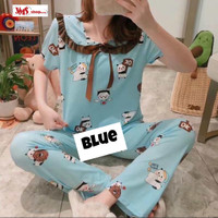 Piyama Wanita Kerah Pita Lengan Pendek Celana Panjang Spandek Premium - Blue, L