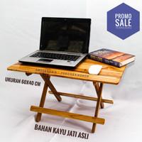 Meja Laptop Lipat Kayu Jati (60 x 40 x 35 CM) Meja Belajar Anak Murah