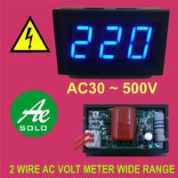 """0.56"""" Digital AC Voltmeter Volt Meter 2 kabel 30 ~ 500V Biru"""