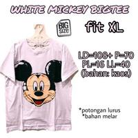 White Mickey Bigtee KAOS WANITA ADEM MELAR TERMURAH JUMBO FIT XL