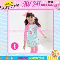 Baju Renang Panjang 2 pieces Anak Perempuan JW 241Popcorn Pink Biru