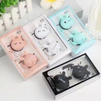 HEADPHONE LOVELY RABBIT EARPHONE SAMSUNG ANDROID XIAOMI - BLACK