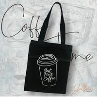 """Tote bag Coffe Time"""" / Bahan Dinir / Sleting / Tas Pria dan wanita"""