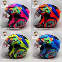 Helm Half Face Nhk R6 SE Pigment Corak Motif Pilihan Warna Varian - Blue Flo, XXXL
