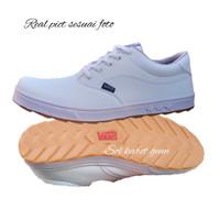 sepatu vans authentic full white gum sneakers pria wanita putih polos