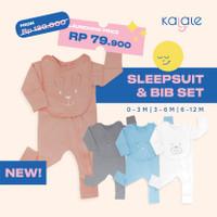 Sleepsuit Bib Set (Piyama Anak dan Bayi dengan Bib Set) - Kalale - Grey Kitty, 0-3 Bulan