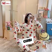 Piyama Wanita Lengan Panjang Celana Panjang Spandek Premium Free Pouch - Chibi, XL