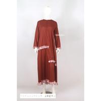 Gamis Dress Toyobo Terracota Mocca Kotak Busui Syari Butik Serut
