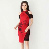 Baju batik Wanita/Dress Batik Wanita Cheongsam Brukat Size M dan L