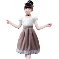 Two Mix Dress anak perempuan fashion Terlaris 4078 - Cokelat, 1