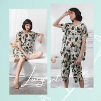 Lucy set in Green Abstract - Sleepwear / Piyama Baju Tidur Rayon