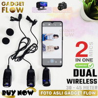Microphone Mic Clip On Wireless Dual UHF 40 - 45 Meter Smartphone HP