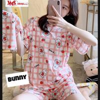Piyama Wanita Setelan Celana Pendek Bahan Spandek Premium (free pouch) - Bunny