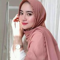 Pashmina KCB Ukuran 175 x 70 Pasmina Tali Lipit Gerigi / Hijab Instan - Mocca
