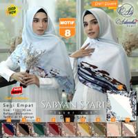 Jilbab Segi empat Jumbo Size Sabyan Syari Luser Cut Doble Side Motif 8