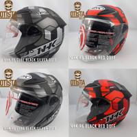 Helm Half Face Nhk R6 Cube Motif Corak Pilihan Varian Warna Doff Matte - Black Red, XXXL