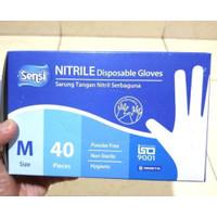 Sarung Tangan Medis Nitrile Nitril SENSI Glove Gloves Isi 40 PCS / 20