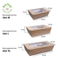 BROWN PAPER KRAFT LUNCH BOX WINDOW SIZE L - LARGE - KOTAK WINDOW BROWN