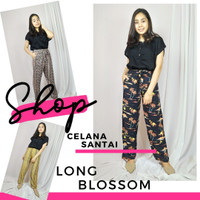 Celana Santai Wanita Panjang Long Blossom Rayon Premium Jumbo Murah