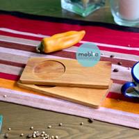 Wooden serving plate / Piring kayu kecil / Tatakan gelas