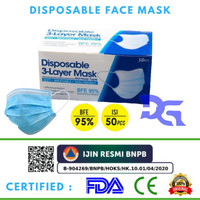 READY MASKER 3PLY DISPOSABLE MASK 3PLY EARLOOP ISI 50PCS