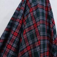 Kain Kotak Wool ( Hijau Tua Garis Merah - Putih )