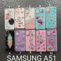 Soft case Samsung A51 motif glitter bunga softcase silikon softshell
