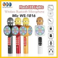 Mic Karaoke WS-1816 Microphone Wireless Bluetooth WS 1816 Disco Light