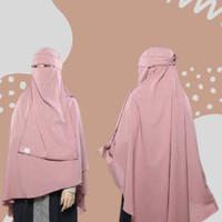 Jilbab Syari Long Khimar Non Pet Bonus Niqab Bandana