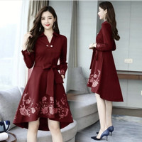 DRESS KOREA MINAMI NAVY GAUN PESTA TERBARU