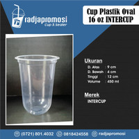 SABLON CUP GELAS PLASTIK 16 OZ 16OZ OVAL INTERCUP 9GR + CUSTOM LOGO