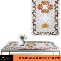 Taplak Meja Tamu Persegi Motif Batik Cream Print (50x100)